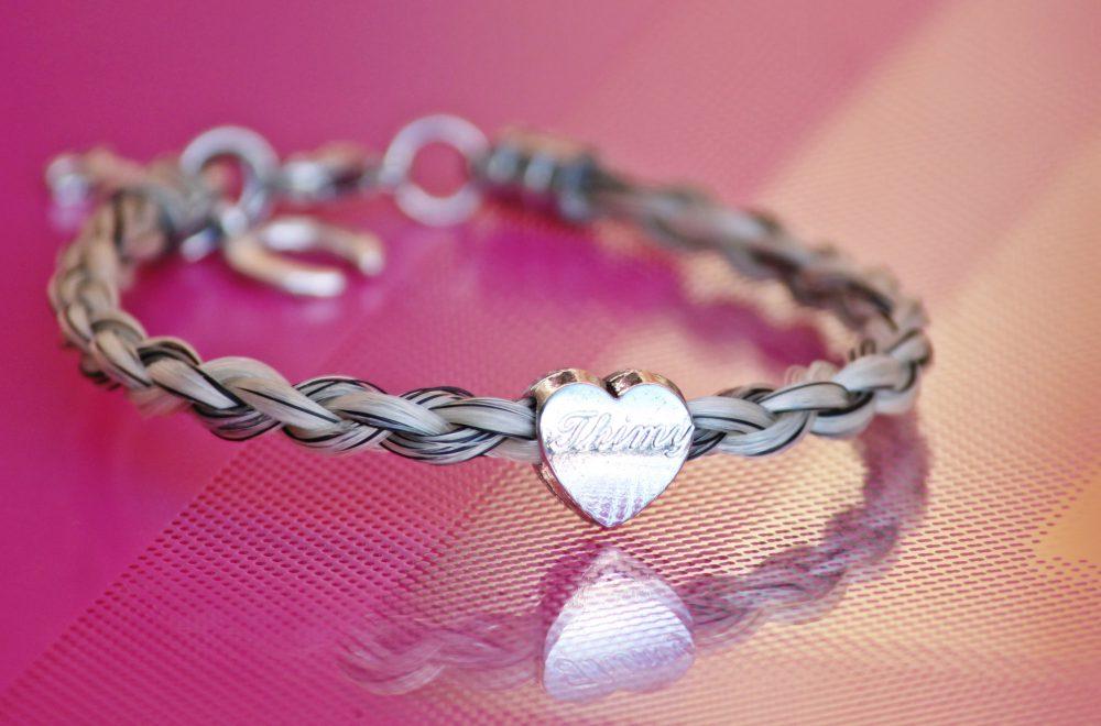 Pferdehaar Armband Gravur Herz