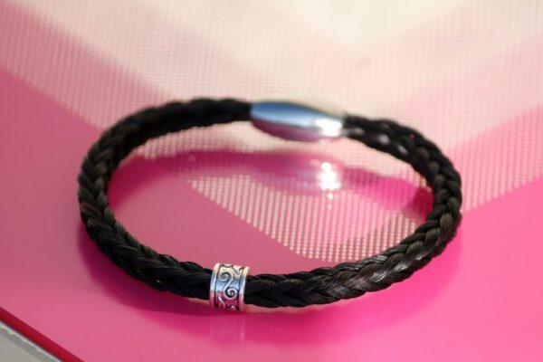 Pferdehaar Armband viereckig Perle