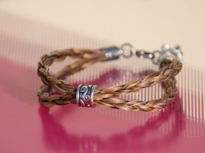 Pferdehaar Armband zweireihig Perle