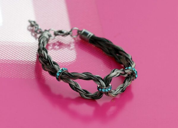 Pferdehaar Armband Infinity türkis