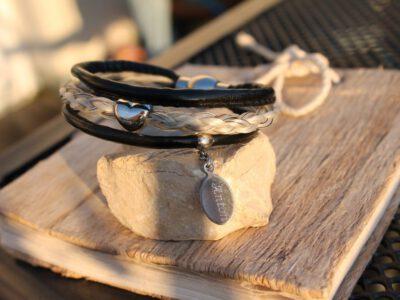 Pferdehaar Armband Leder Perlen