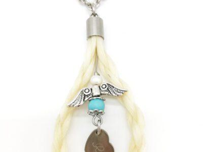 Rückspiegelanhänger Pferdehaar, aus den Haaren des eigenen Pferdes, Pferdehaarschmuck, Engel mit Türkisperle, Gravur