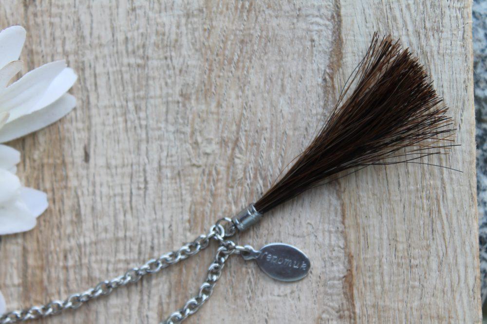 Schlüsselanhänger Pferdehaar Tassel und Gravur