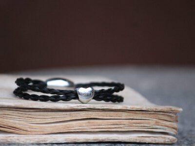 Pferdehaar Armband zweireihig Herzperle
