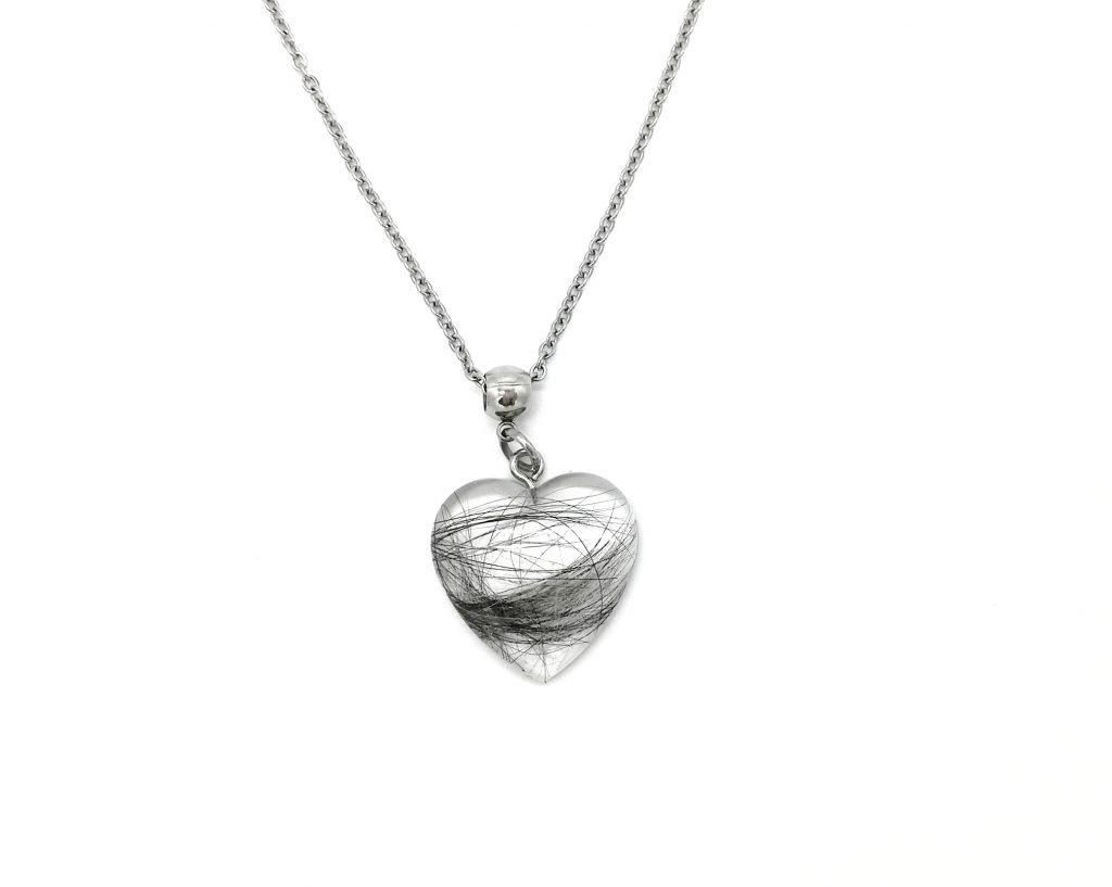 Halskette gegossen Herz groß Tierhaar