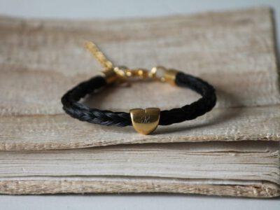 Armband Pferdehaar mit Gravur gold
