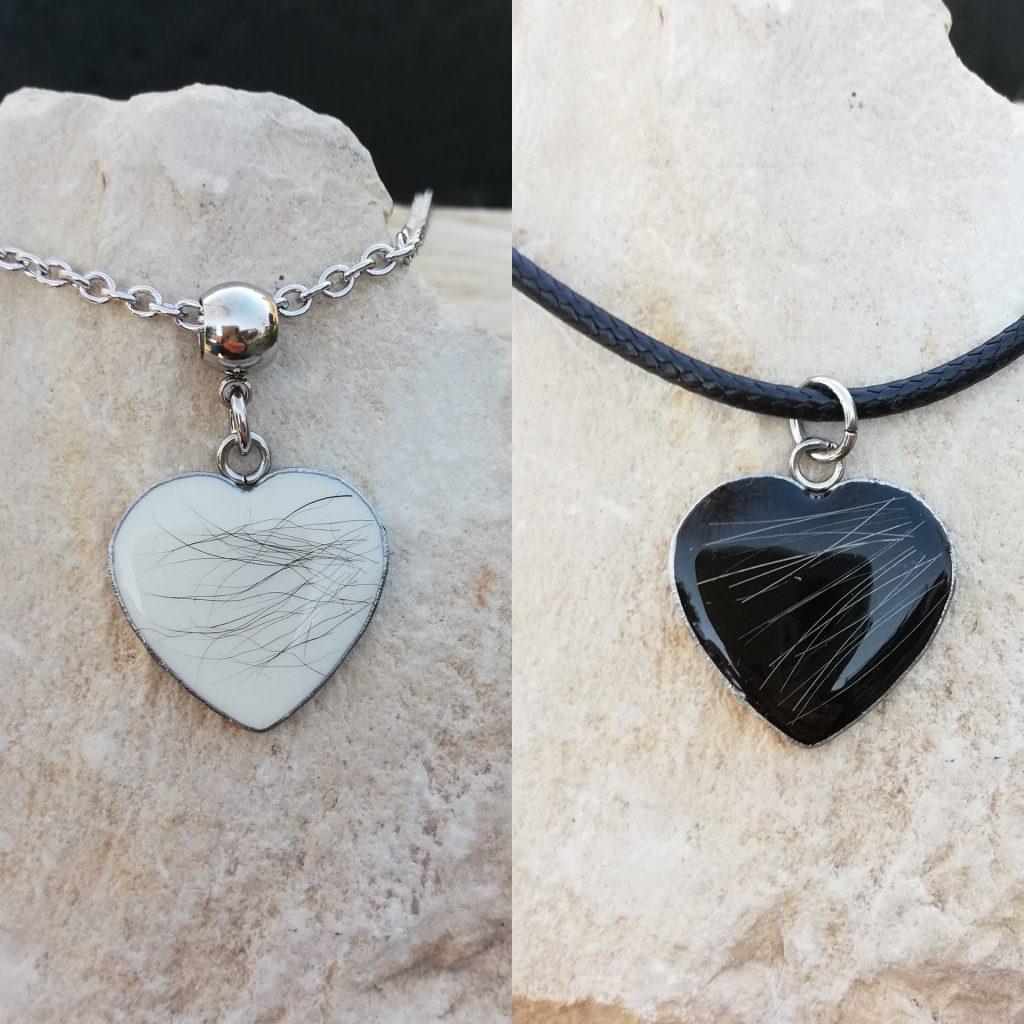 Halskette Edelstahl Herz eingegossenes Tierhaar