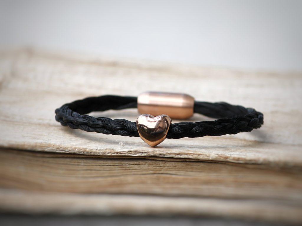 Armband Pferdehaar mit Herzperle rosé/gold