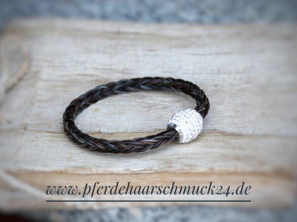 Armband Pferdehaar mit Strass, Pferdehaararmband mit Strassverschluss